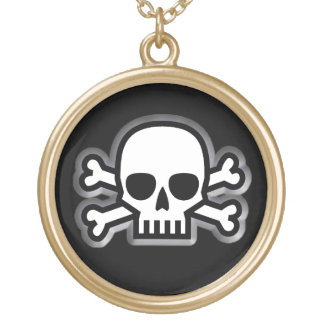 'Jolly Roger' Pirate Gold Plated Necklace