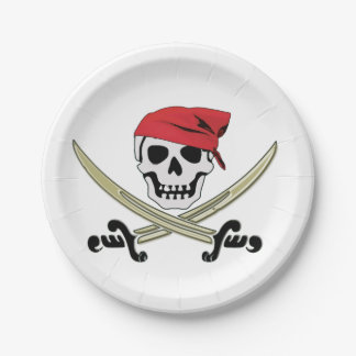 Jolly Roger Pirate Party Paper Plate