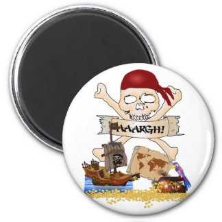 Jolly Roger, Pirate Ship & Pirate's Chest 2 Inch Round Magnet