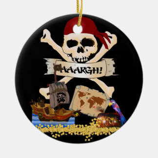 Jolly Roger, Pirate Ship & Pirate's Chest Double-Sided Ceramic Round Christmas Ornament