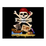 Jolly Roger, Pirate Ship & Pirate's Chest Postcard