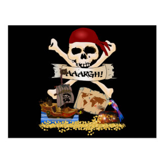 Jolly Roger, Pirate Ship & Pirate's Chest Post Card