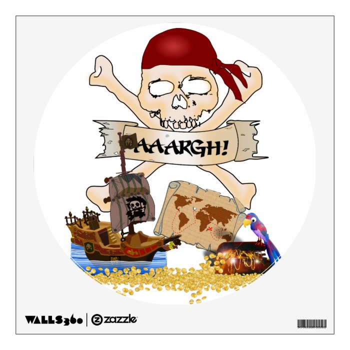 Jolly Roger, Pirate Ship & Pirate's Chest Wall Decal