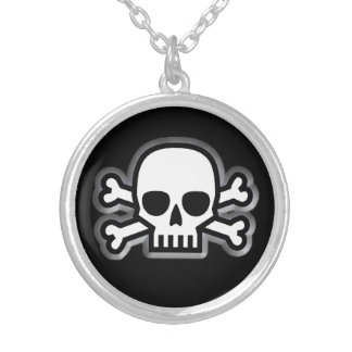 'Jolly Roger' Pirate Silver Plated Necklace