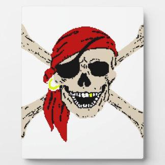 Jolly Roger Pirate Skull Bones Red Bandanna Display Plaque