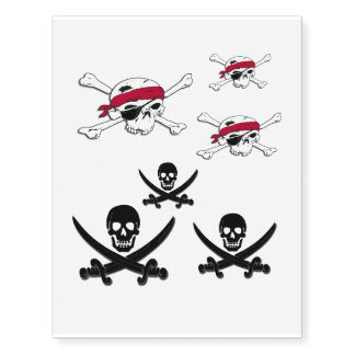 Jolly Roger Pirate Skull Temporary Tattoo Stickers