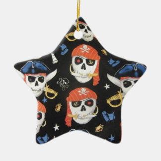 Jolly Roger Pirate Skulls Ceramic Ornament