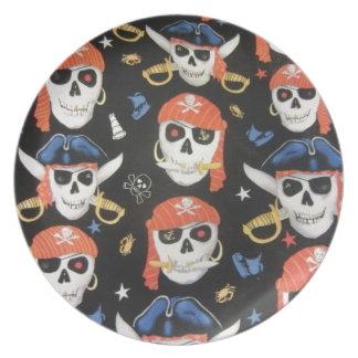 Jolly Roger Pirate Skulls Dinner Plate