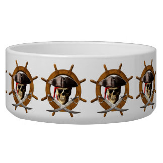 Jolly Roger Pirate Wheel Dog Water Bowls