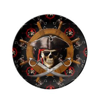 Jolly Roger Pirate Wheel Porcelain Plates
