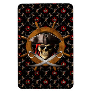 Jolly Roger Pirate Wheel Rectangular Photo Magnet