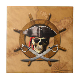 Jolly Roger Pirate Wheel Small Square Tile