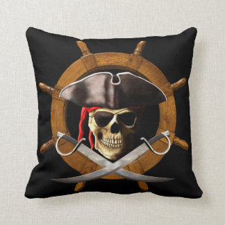 Jolly Roger Pirate Wheel Throw Pillow