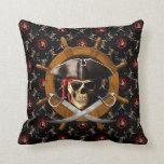 Jolly Roger Pirate Wheel Throw Pillows