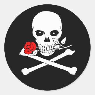 Jolly Roger (Rose)Sticker Classic Round Sticker