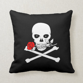 Jolly Roger (Rose) Throw Pillow