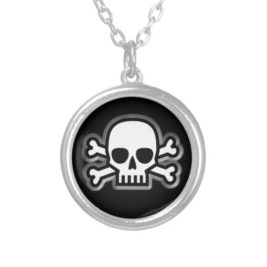 Jolly Roger Silver Plated Necklace