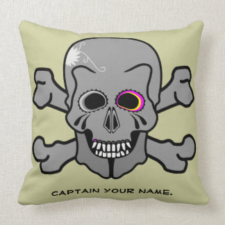 Jolly Roger skull and cross bones Throw Pillow