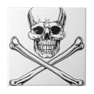 Jolly Roger Skull and Crossbones Ceramic Tiles