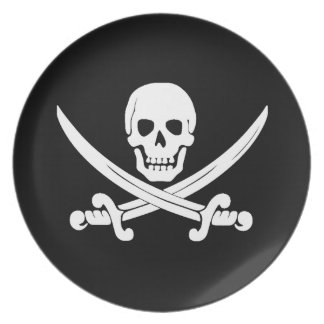 Jolly Roger Skull And Crossbones Pirate Gifts Party Plates