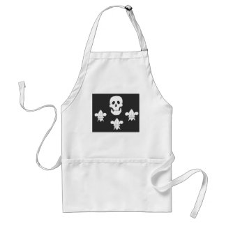 JOLLY ROGER SKULL AND THREE LILIES FLAG ADULT APRON