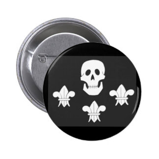 JOLLY ROGER SKULL AND THREE LILIES FLAG BUTTONS