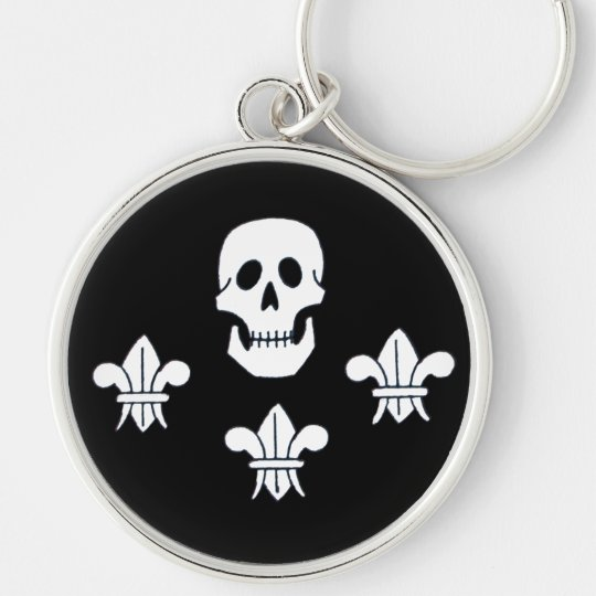 JOLLY ROGER SKULL AND THREE LILIES FLAG KEYCHAIN