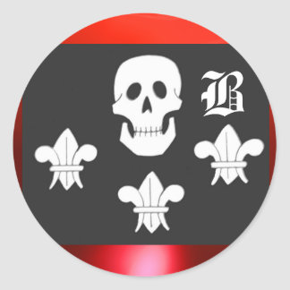 JOLLY ROGER SKULL AND THREE LILIES FLAG MONOGRAM CLASSIC ROUND STICKER