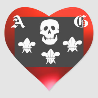 JOLLY ROGER SKULL AND THREE LILIES FLAG MONOGRAM HEART STICKER