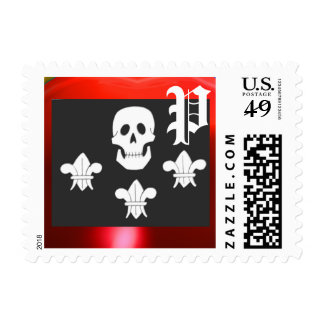 JOLLY ROGER SKULL AND THREE LILIES FLAG MONOGRAM POSTAGE STAMP