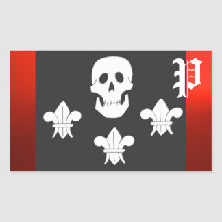 JOLLY ROGER SKULL AND THREE LILIES FLAG MONOGRAM RECTANGULAR STICKER