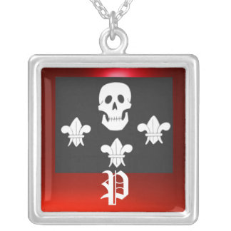 JOLLY ROGER SKULL AND THREE LILIES FLAG MONOGRAM SILVER PLATED NECKLACE