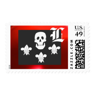 JOLLY ROGER SKULL AND THREE LILIES FLAG MONOGRAM STAMP