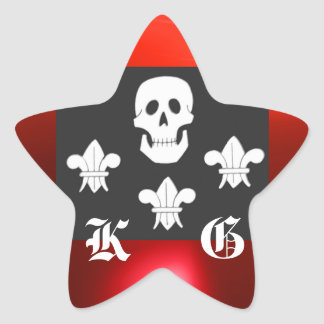 JOLLY ROGER SKULL AND THREE LILIES FLAG MONOGRAM STAR STICKER