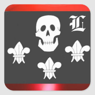 JOLLY ROGER SKULL AND THREE LILIES FLAG MONOGRAM SQUARE STICKER