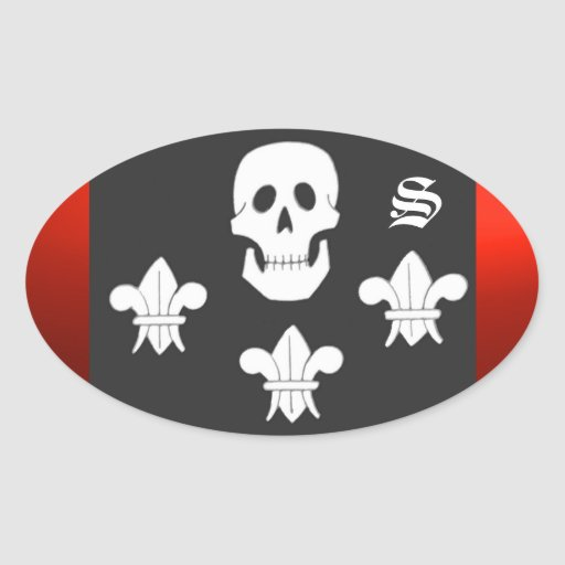 JOLLY ROGER SKULL AND THREE LILIES FLAG MONOGRAM OVAL STICKER