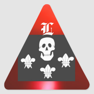 JOLLY ROGER SKULL AND THREE LILIES FLAG MONOGRAM TRIANGLE STICKER