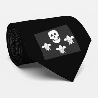 JOLLY ROGER SKULL AND THREE LILIES FLAG NECK TIE