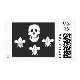 JOLLY ROGER SKULL AND THREE LILIES FLAG POSTAGE STAMP