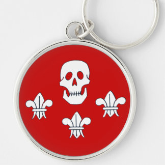 JOLLY ROGER SKULL AND THREE LILIES FLAG,Red Silver-Colored Round Keychain