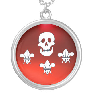 JOLLY ROGER SKULL AND THREE LILIES FLAG ,Red Silver Plated Necklace