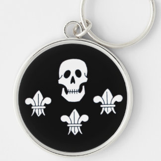 JOLLY ROGER SKULL AND THREE LILIES FLAG Silver-Colored ROUND KEYCHAIN