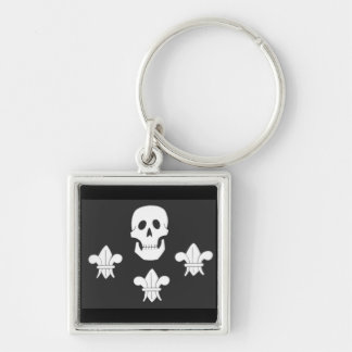 JOLLY ROGER SKULL AND THREE LILIES FLAG Silver-Colored SQUARE KEYCHAIN