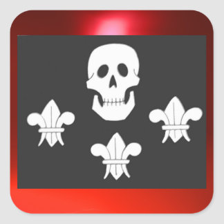 JOLLY ROGER SKULL AND THREE LILIES FLAG SQUARE STICKER