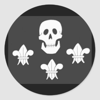 JOLLY ROGER SKULL AND THREE LILIES FLAG STICKERS