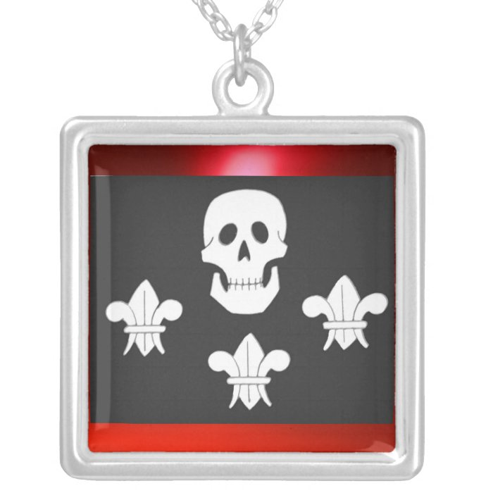 JOLLY ROGER SKULL AND THREE LILLES  FLAG SILVER PLATED NECKLACE