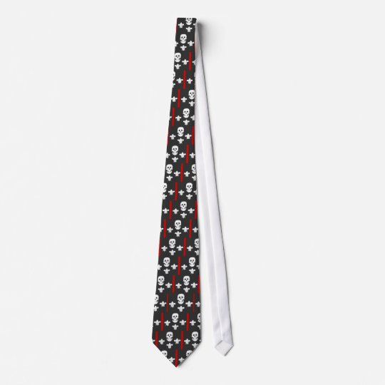 JOLLY ROGER SKULL AND THREE LILLES  FLAG TIE