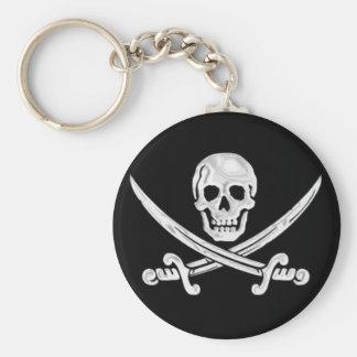 Jolly Roger Skull Basic Round Button Keychain