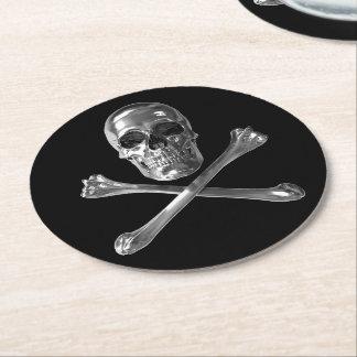 Jolly Roger Skull Round Paper Coaster