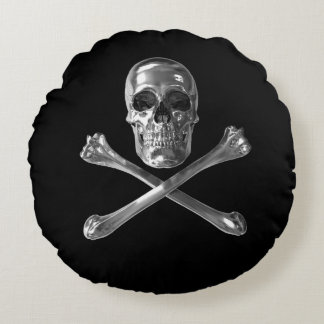 Jolly Roger Skull Round Pillow